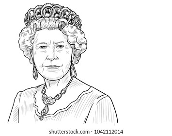 Queen Elizabeth II. Vector Portrait Drawing Illustration. March 9, 2018