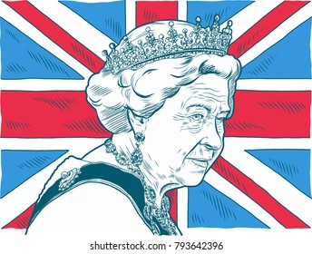 Queen Elizabeth II. Vector Portrait Drawing Illustration. January 15, 2018
