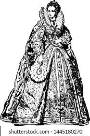 Queen Elizabeth, vintage engraved illustration