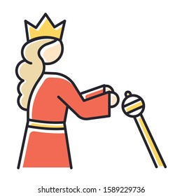 Queen Esther Bible story color icon. Persian queen in crown. Religious legend. Christian religion, holy book scene plot. Old Testament Biblical narrative. Isolated vector illustration