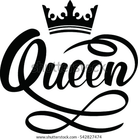 queen hand lettering crown stock vector royalty free 542827474