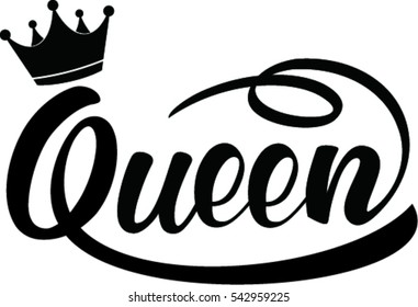 queen hand lettering, vector illustration