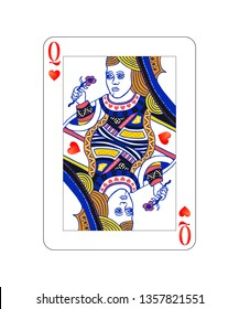 Queen of hearts playing card with on white