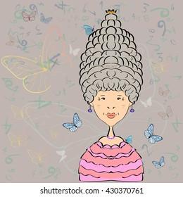 Queen with a high hairdo. Vector image