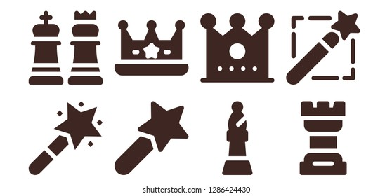queen icon set. 8 filled queen icons. Simple modern icons about  - Magic wand, Chess, Crown, Bishop