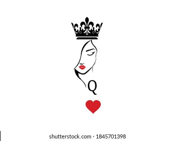 Queen Icon Vector illustration. Q women symbol. Poker Card Sign with Crown, emblem isolated on white background, Flat style for graphic and silhouette, Heart, t-shirt, tattoo
