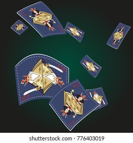 Queen and King Playing Cards in modern style Original design.