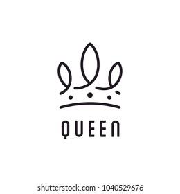 Queen King Princess Crown Royal beauty luxury elegant logo design