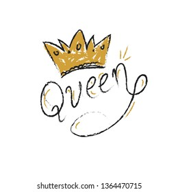Queen letter typography hand drawn doodle style hand writing. White background isolated.