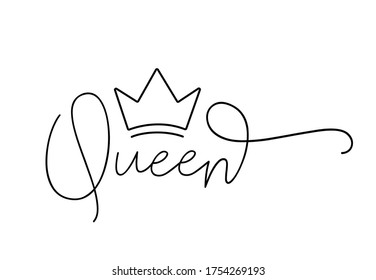 QUEEN. Lettering typography script text with crown for poster, vector design banner. Modern calligraphy script queen. Hand drawn calligraphy word - queen. Print for tee shirt.