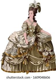 Queen Marie Antoinette Of France Vector Portrait