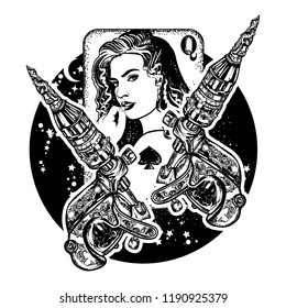 Queen playing card. Girl and сrossed tattoo machine