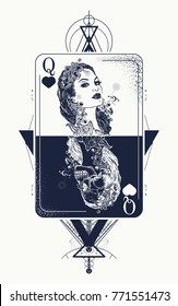 Queen playing card sacred geometry tattoo and t-shirt design. Tarot cards, success and defeat, casino, poker. Beautiful girl and queen skeleton. Symbol of gambling