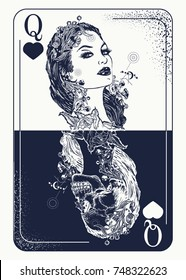 Queen playing card tattoo and t-shirt design. Gothic symbol of gamblings, tarot cards, success and defeat, casino, poker