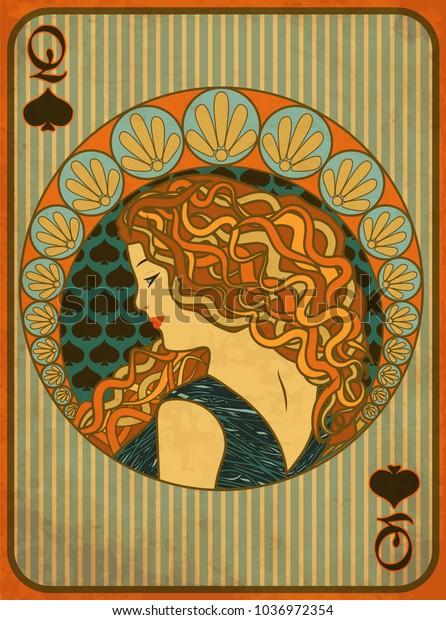 Queen Poker Spades Card Art Nouveau Stock Vector Royalty Free 1036972354