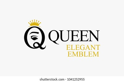 Queen - Sign that Symbolizes Beauty, Vector Emblem