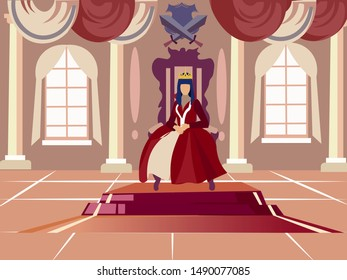 Queen is sitting on her throne. In minimalist style. Cartoon flat vector illustration