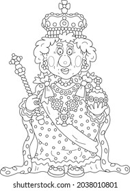 Queen in solemn royal dress with symbols of royalty at an official festive ceremony, black and white outline vector cartoon illustration for a coloring book page