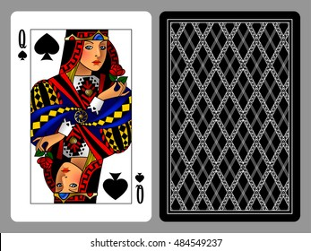 Queen of Spades playing card and the backside background. Colorful original design. Vector illustration