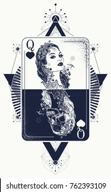 Queen tarot cards, success and defeat, casino, poker tattoo and t-shirt design. Beautiful girl and queen skeleton, Gothic playing card. Symbol of gamblings