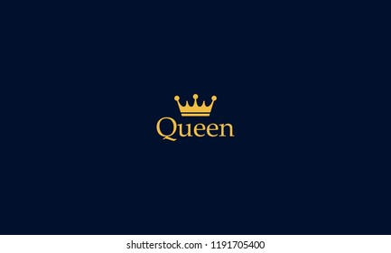 Queen a text base vector with the combination of royal golden crown can be use for logo or illustration