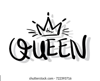 Queen typography and crown / Textile print, t shirt graphics vector design