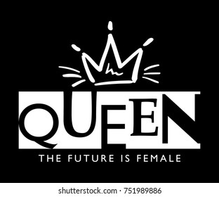 Queen typography and crown / Vector illustration design / Textile graphic t shirt print