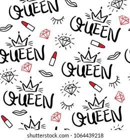 Queen typography, diamond, lipstick and crown drawing seamless endless repeating pattern texture / Vector illustration design for fashion fabrics, textile graphics, prints, wallpapers and other uses.