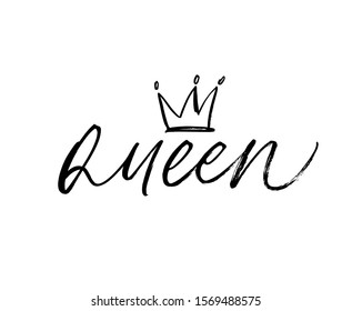 Queen - vector brush calligraphic word with crown clip art. Calligraphy fun design to print on tee, shirt, hoody, poster banner sticker, card. Modern stock illustration isolated on white background.