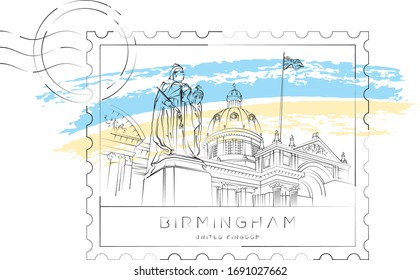 Queen Victoria sculpture and Birmingham museum stamp, vector illustration and typography design, Birmingham, UK
