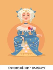 Queen woman character. Vector flat cartoon illustration