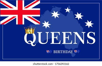 Queen's Birthday Vector Ilustration. UK,Australia Queen's birthday concept.