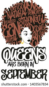 Queens are born in september, afro woman vector