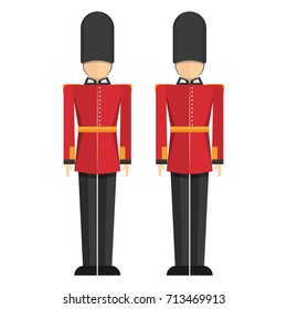 Queen's Guard, British Army soldiers, London, Buckingham Palace isolated on white background vector illustration flat