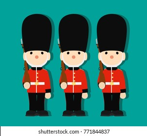 Queen's Guard in traditional uniform with gun British soldiers, vector illustration