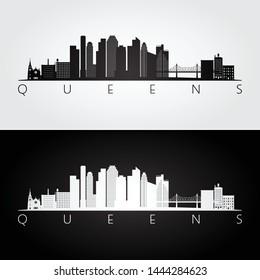 Queens, New York USA skyline and landmarks silhouette, black and white design, vector illustration.