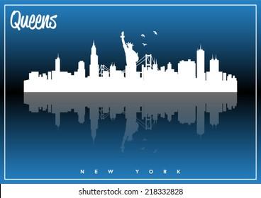 Queens, New York, USA skyline silhouette vector design on parliament blue background.