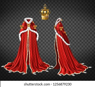 Queens or princes royal robe with red cape and mantle trimmed ermine fur and precious gold crown decorated perls 3d realistic vector front, side view illustration isolated on transparent background