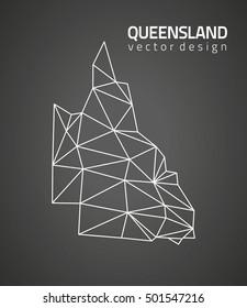 Queensland black vector contour triangle map