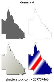 Queensland blank detailed outline map set - vector version