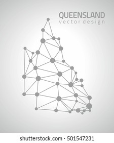 Queensland grey dot vector outline map
