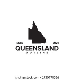 Queensland outline map logo design vector template