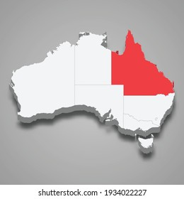 Queensland region location within Australia 3d isometric map