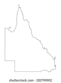 Queensland vector map contour illustration isolated on white background.