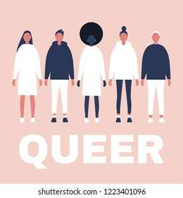 Queer. Modern people relationships. Diversity. LGBTQ community. Tolerance. Flat editable vector illustration, clip art