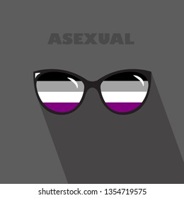 Queer sign with dark background. Eyeglasses icon in asexual flag colors