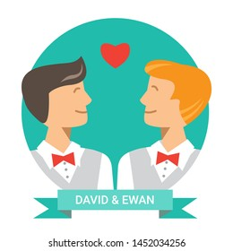 Queer wedding greeting card with gay couple. Vector illustration. Happy cute homosexual boys. Cartoon characters of gay marriage ceremony. lgbt family symbol. Flat design.