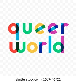 Queer world logo of vector gay rainbow colors lettering