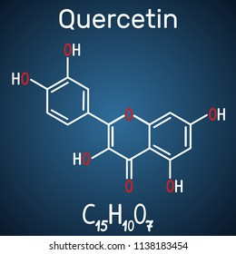 Quercetin ( flavonoid) molecule. Structural chemical formula and molecule model on the dark blue background. Vector illustration