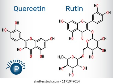 Quercetin, rutin molecule (vitamin P). Structural chemical formula. Vector illustration